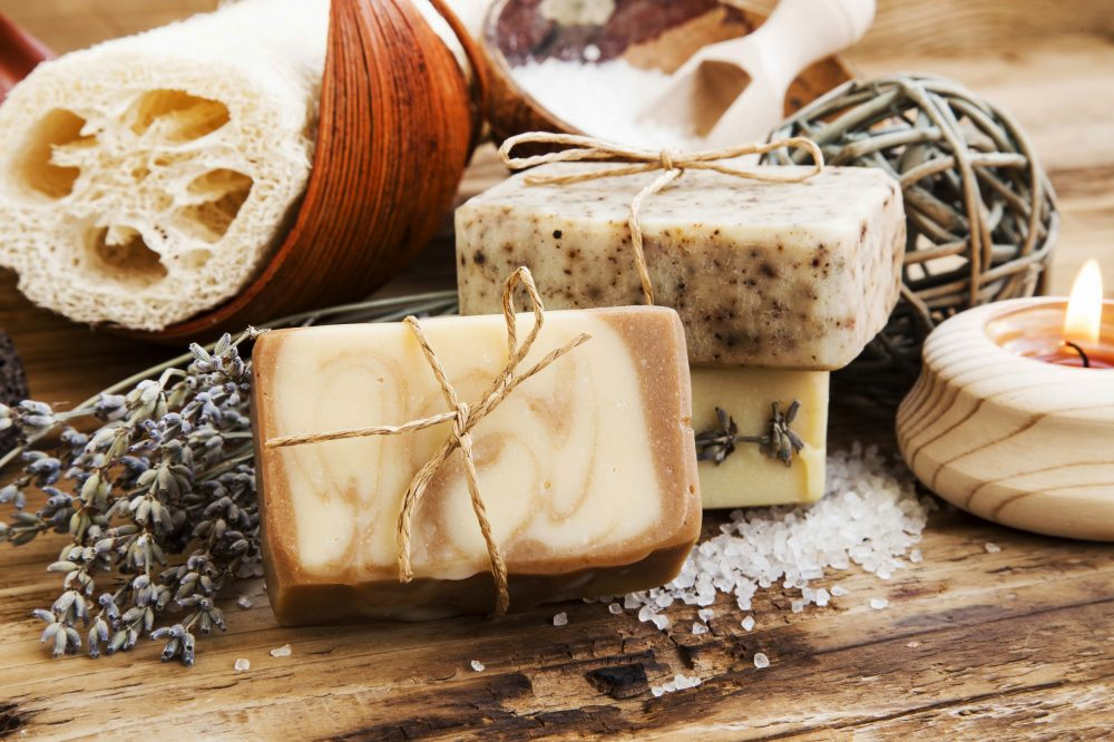 Natural Soap.Homemade Spa Setting with Bodycare Products