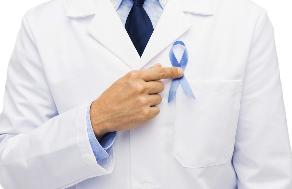 doctor hand with prostate cancer awareness ribbon