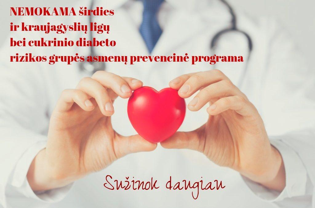 Kviečiame dalyvauti širdies ir kraujagyslių ligų ir cukrinio diabeto rizikos grupių asmenų (40 – 65 m. amžiaus) sveikatos stiprinimo programoje