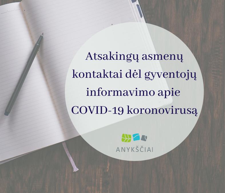 ATSAKINGŲ ASMENŲ KONTAKTAI DĖL GYVENTOJŲ INFORMAVIMO APIE COVID-19 KORONOVIRUSĄ