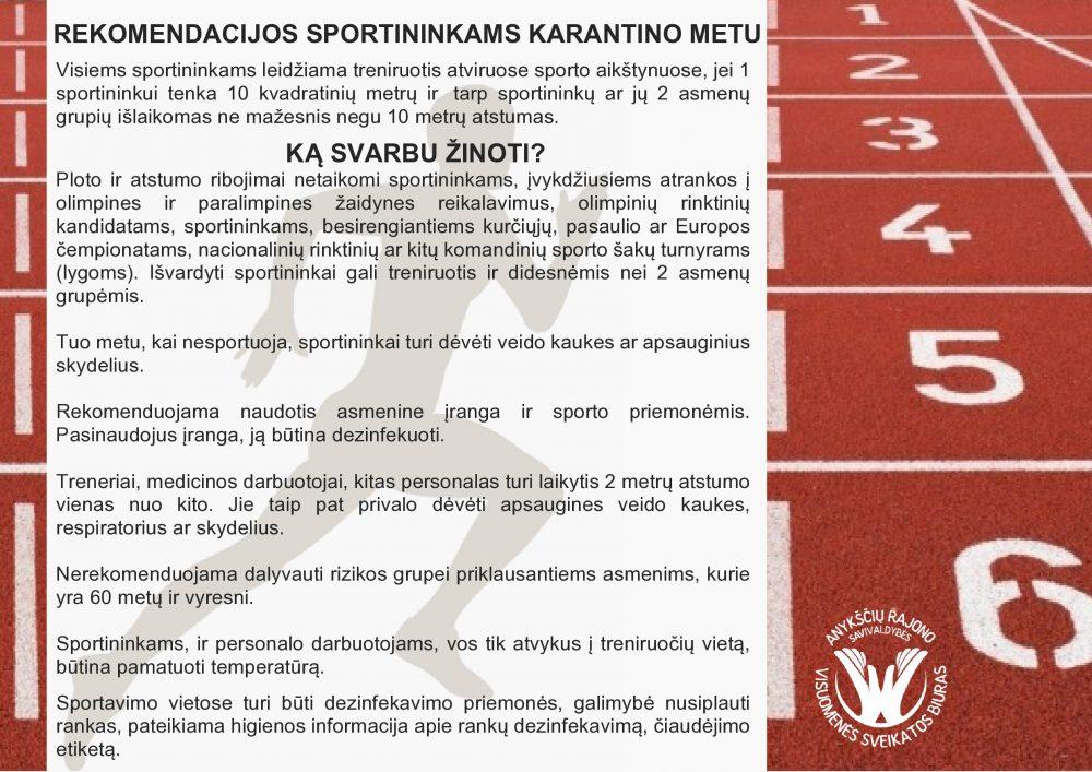 REKOMENDACIJOS SPORTININKAMS KARANTINO METU-page0001