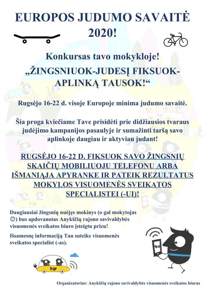 EUROPOS JUDUMO SAVAITĖ 2020 - plakatas mokykloms